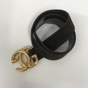 Vintage Gucci Suede Belt GG Logo Buckle Size 85